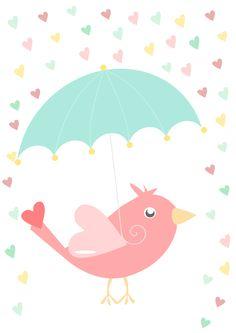 Постер в детскую Птичка под зонтом. Детский постер.