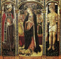 Vittore Crivelli - Madonna adorante tra San Basso e San Sebastiano - c. 1485 - Collegiata di San Basso a Cupra Marittima