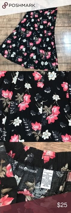 Sag Harbor Floral Black & Pink Skirt Sag harbor floral black and pink skirt size medium, model is a size small, 2/4/27 and 5'4 model is holding skirt in photos condition: pre-loved, i believe this skirt has been hemmed, no major flaws to note measurements:  waist: 14 in  length: about 33 in Sag Harbor Skirts Midi
