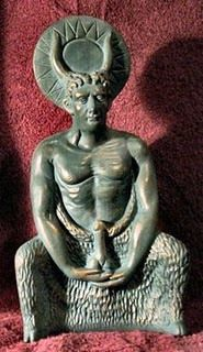 """Baphomet that reminds us of the golden calf , Apis, the Egyptians and the apostate Israelites worshiped - """"In Britain, an aspect Cerennunos was named Herne. The horned god has the Satyr-like features of Baphomet along with its emphasis on the phallus."""""""