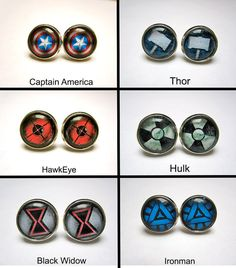 Avengers stud earrings choice by missfitclothing on Etsy, $5.00 want