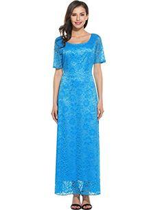 b7579ec364 ANGVNS Women s Full Lace Solid Short Sleeve Elegant Wedding Maxi Dress