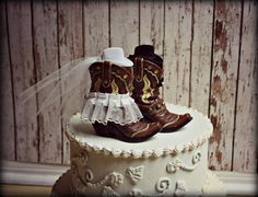 Western Wedding #Cake #Topper #Boots