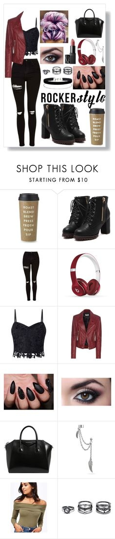 """""""Rocker Chic"""" by emmie-1599 ❤ liked on Polyvore featuring Kate Spade, Topshop, Beats by Dr. Dre, Lipsy, Balenciaga, Givenchy, Bling Jewelry, Miss Selfridge, LULUS and rockerchic"""