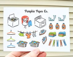 Laundry planner stickers Erin Condren planner by PumpkinPaperCo