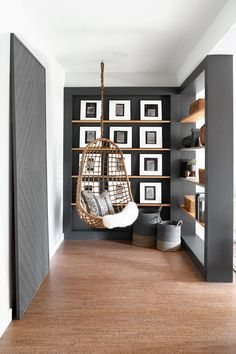 A Customer's Guide To Herbal Dietary Supplements On The Net One Room Challenge Fall 2018 Dorsey Designs Nailed It In Her Basement Makeover With This Hanging Chair, Floating Art Shelves, And Black Built-In Open Bookshelf. Diy Room Decor, Living Room Decor, Bedroom Decor, Home Decor, Unique Living Room Furniture, Furniture Nyc, Home Office Furniture, Living Area, Art Decor