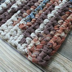 Rag Rug - Home Decor - Earth Tones - Thick Bath Mat - Rectangle - Machine Washable - Kitchen - Bathroom - Rustic Home - Office - Garage by ThankfulRose on Etsy