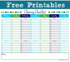 Cleaning Checklist Free Printables