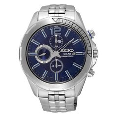 Seiko SSC381 Men's Watch Blue Dial Solar Chronograph Movement. 100% Authentic. Free US Shipping.