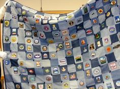 recycled blue jeans quilt with patches