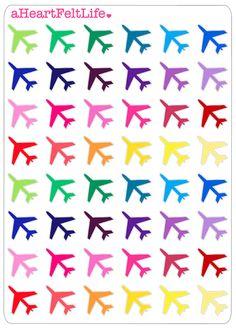 Airplane Planner Stickers, Erin Condren Planner Stickers, Filofax, Kikki K, Scrapbook Stickers, Calendar Stickers, etc.