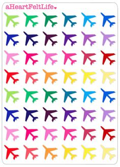 Airplane Planner Stickers, Erin Condren Planner Stickers, Filofax, Kikki K, Scrapbook Stickers, Calendar Stickers, etc.
