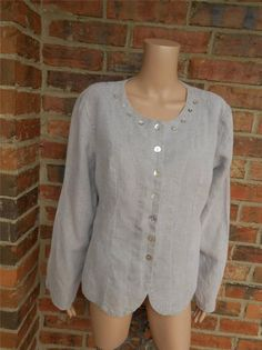 FLAX 100% Line Blouse Size S Women Shirt Top Long Sleeve Beige Oversized #Flax #Blouse #Casual
