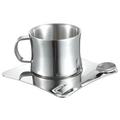 Visol Double Walled Coffee / Tea / Capuccino Cup with Spoon (Silver)