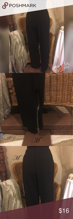 SALETommyHilfigerBlack Stretchy Pant w/Zipper These black stretchy pants are part rayon, part nylon and with a little spandex. They are a cross between pants and leggings. They have a really cute gold zipper at the ankle. They are in gently used condition and still look great! Tommy Hilfiger Pants Leggings