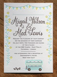 Abigail & Aled letterpress wedding invitation, designed by Aled Lewis, printed by Blush letterpress printing UK
