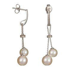 White gold Pearl Drop Earrings with Diamonds (0.10 ct) (DIAMANTA2 1059011)
