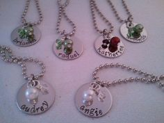 Great Bridesmaid Gift SET OF 4 Personalized Stamped Necklaces -- Etsy $50