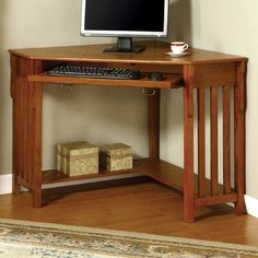 Found it at Wayfair Supply - Roque Corner Computer Desk- matches mission style furniture you have already