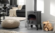 DRU 44 MF wood and multi-fuel cast iron stove with long legs