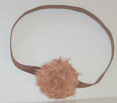 Shabby Chic Rose Headband, Fabric Flower, Stretch FOE Elastic Headband, Beige, Brown, Baby Girl Gift, Fancy, Dress Up, Baby Headband, RTS