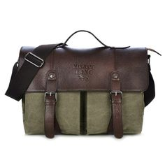 a589c1ab5749 Double Buckle Snap Closure Canvas Messenger Bag Briefcase For Men
