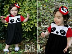 Panda Bear Bubble Dress or Top and Headband PDF Crochet Pattern by IraRott Inc.