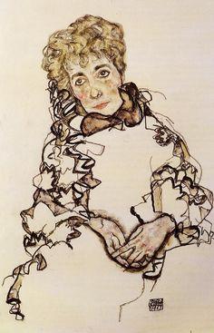 Egon Schiele, Portrait of Sarena Lederer -repinned from http://LinusGallery.com #art #artists