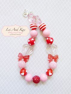 Valentine Pink Hearts Chunky Bubble Gum Necklace - Photo Prop Fashion Accessory