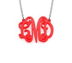 Celebrity Monogram Necklace in Acrylic
