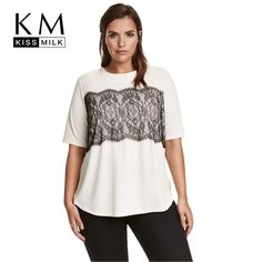 Plus Size Casual Solid Lace T-shirt Patchwork Short Sleeve Lace Tee b750679496b2
