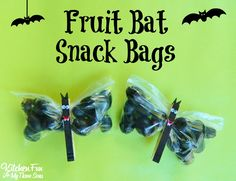 Halloween Fruit Bat Snack Bags...so easy to make & great for class parties at school!  KitchenFunWithMy3Sons.com