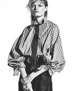 #HanneGaby per #MarieClaireItalia di febbraio, fotografata da #KotoBolofo con lo styling di #LauraSegnati, oggi su tablet e lunedì in edicola ✨✨✨ #MCstaytuned #MCtendenze #MCshooting #MClikes  Camicia: #ErmannoScervino  Cravatta: #Dsquared2  Cintura e anelli #Gucci