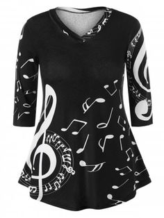 e005b1a5a07 Shop for BLACK 5XL Plus Size Tunic Music Note Print T-shirt online at  23.37