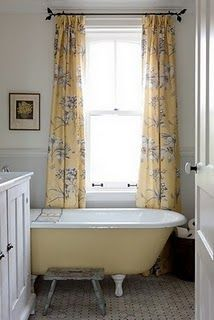 Pretty yellow and grey bathroom by Sarah Richardson.  In fact love pretty much anything she creates!