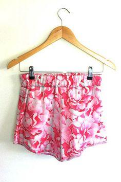 $69 50% silk, 50% cotton Pink Peonies print summer fashion short www.beyondthelove.com