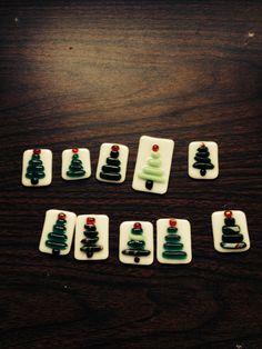 Fused glass Christmas pendants