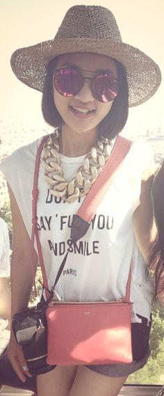 travel outfit #mirrorsunglasses #whitetshirt #blackshort #celinebag #hat