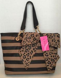 cb83875e00d4 Betsey Johnson Tote Bow-lette Stripe Big Leopard Print Bow Diaper Bag Carry