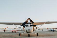 Lindsey & Mike Riverside Municipal Airport Engagement Photoshoot