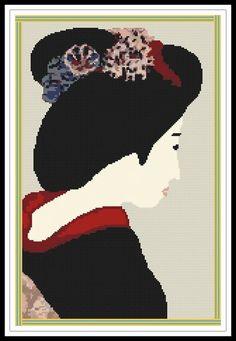 Gráfico para punto de cruz de una geisha.