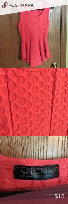 DISCOUNTED Textured Peplum Top Medium, textured peplum top by Neblina (Urban Episode). Tags have been removed. Stretchy material. Looks great with a pencil skirt. Coral/pink color. Urban Episode Tops Blouses