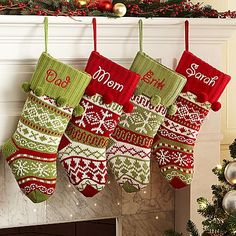 Can't wait to order George's stocking!!  Knit Argyle / Snowflake Stockings and other at PersonalCreations.com
