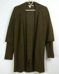 5183274a33730 White Warren 100% Cashmere Cardigan Open Front Brown Womens Size Medium   fashion  clothing