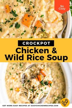 Warm up from the chilly weather with this wonderfully hearty Crockpot chicken wild rice soup. Effortless to make in your slow cooker, this creamy chicken soup is full of flavor. Chicken Coconut Soup, Chicken Wild Rice Soup, Chicken Soup Recipes, Creamy Chicken, Crock Pot Soup, Slow Cooker Soup, Slow Cooker Chicken, Chilly Weather, Chicken Seasoning