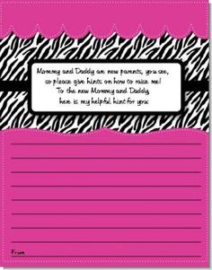 Zebra Print Pink - Baby Shower Notes of Advice $0.65 ea.