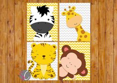 *THIS LISTING IS FOR THE DIGITAL JPG FILE ONLY. NO PHYSICAL PRINT IS SHIPPED* Instant Download- Jungle Animals Nursery Wall Art Decor Giraffe Zebra Monkey Tiger Grey Yellow Gender Neutral Set of 4 - DIGITAL 8x10 JPG Files (77) ✿●▬▬▬▬ SIMILAR DESIGNS ▬▬▬▬●✿