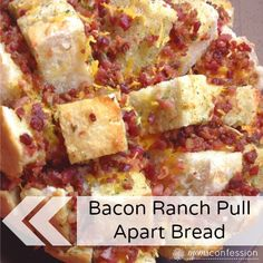 This is the best recipe ever and since I made it a few months ago, it has become a staple at every party. This cheesy bacon ranch pull apart bread recipe is one of those recipes that you can't just have one bite. Gourmet Recipes, Appetizer Recipes, Bread Recipes, Appetizers, Aldi Meal Plan, Pull Apart Bread, Those Recipe, Football Food, Biscuit Recipe