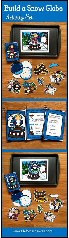 The Build a Snow Globe Activities, can be set up as cookie sheet activities, a magnet center or completed as cut and glue activities. This activity includes: 1 background,  turkey building pieces, and three sets of building cards for differentiation. Students can build 16 different snow globes by looking a picture cards (level 1), using the cards with words and pictures (level 2), or using the cards with just words (level 3). There are also building pieces included for creative building!