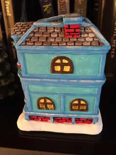 ceramic house, painted house, blue house, Christmas Village 2014